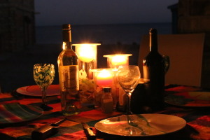 Our Thanksgiving candlelit table on the patio