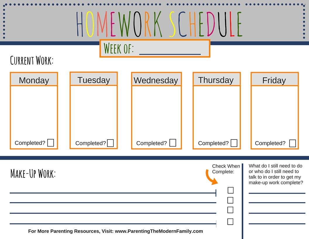 Kids homework planner